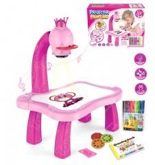 Детский проектор для рисования со столиком (розовый)