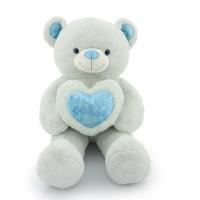 Мягкая игрушка Большой Медведь нежно-голубой с сердцем 120 см
