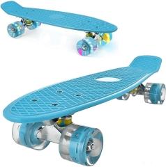 "Пенни борд (скейтборд) со светящимися колесами голубой 55 см (22"")"