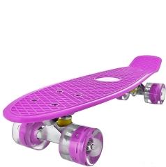 """Пенни борд (скейтборд) со светящимися колесами фиолетовый 55 см (22"""")"""