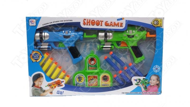 Набор пистолетов с пульками присосками (Мягкие стрелв 2 пистолета и 12 шт)